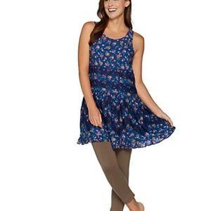 LOGO Lori Goldstein Lavish Blue Floral Lace Tunic